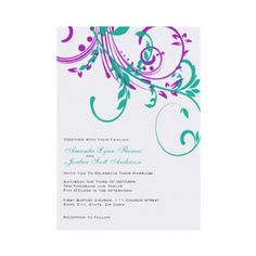 Purple and Teal Double Floral Customized Wedding Invitations. So elegant!
