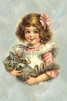 Vintage print - little girl and her cat
