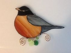 Robin Stained Glass Sun Catcher by robinsglassworld on Etsy