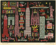 1954 Manhatten hand-coloured woodcut relief print © The Heirs of James Flora, courtesy JimFlora.com
