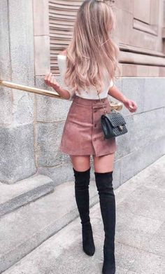 Cute School Outfit With Faux Suede Skirt ★Lo. - - Cute School Outfit With Faux Suede Skirt ★Looking for some trendy and cute outfits for school? Fall College Outfits, Cute Outfits For School, Cute Summer Outfits, Fall Outfits, Cute Clothes For Girls, Skirt Outfits For Winter, Cute Outfits With Skirts, Classy Outfits For Teens, Teen Outfits
