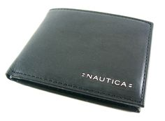 Nautica Men/'s Black Genuine Leather Rfid Blocking Hampton Fixed Passcase Wallet
