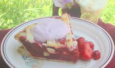 Strawberry and sour Cherry Pie, Cold water, lard type crust, greek yogurt on top. Great spring dessert!