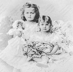 Grand Duchesses Olga and Tatiana Nikolaevna of Russia as small children c. 1899. Photo courtesy: Hessian State Archives. by historyofromanovs