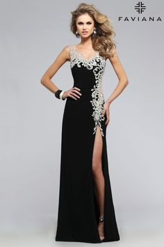 Jersey with lace detail and side slit #Faviana Style S7737 #PromDresses