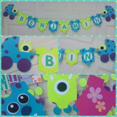 Monsters inc baby shower banner and photo booth props.  Disney monsters inc inspired baby shower.