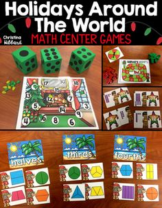 Fill your math tubs with these fun games that would go perfect with your Holidays Around The World Unit. There are 10 math games included. 1. Place Value2. Missing Addends 3. Measurement 4.  Partitioning shapes5. Comparing numbers6. Number bonds7. True or False Sum/Differences8.