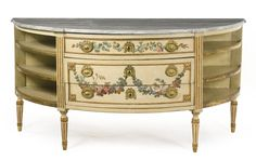 An Italian Neoclassical gilt-bronze mounted parcel-gilt and polychrome-painted demi-lune commode, the decoration attributed to Angelo Vacca Piedmont, last quarter 18th century. Sotheby's