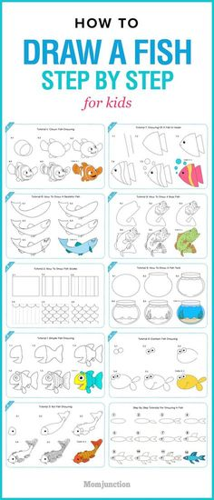 How To Draw Fish Step By Step Animals 29 Best Ideas Draw Animals For Kids, Art For Kids, Fish Drawings, Animal Drawings, Drawing Animals, Drawing Lessons, Art Lessons, Drawing Tips, Learn Drawing