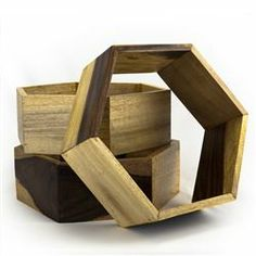 Honeycomb Shelf $14 - constructed from repurposed furniture production remnants and include materials like teak, oak and mindi to create a unique combination for each piece