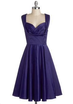 Aisle Be There Dress in Navy by Trashy Diva - Blue, Solid, Special Occasion, Prom, Wedding, Bridesmaid, Pinup, Vintage Inspired, 50s, Fit & Flare, Sleeveless, Variation, Sweetheart, Long, Satin, Woven, Pockets