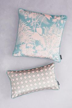 Duet of Velvet Cushions - Pale Teal & Blush - Florence Broadhurst Floral Fabric, Floral Prints, Florence Broadhurst, Screen Printing Process, Velvet Cushions, Cushion Pads, Modern Interior, Bed Pillows, Floral Design