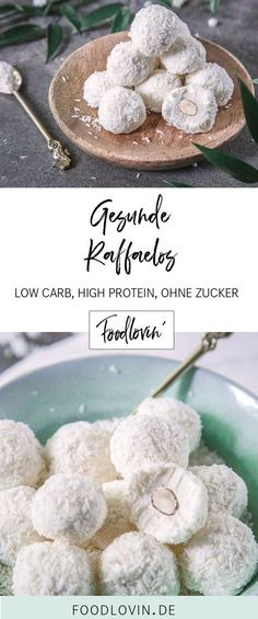 Gesunde Raffaelo Healthy Raphaelos with Quark – High Protein, Low Carb and No Sugar 33 healthy and tasty low carb snacksKeto snacks: 12 healthy low-carbohydrate snacks Super Healthy Smoothie Recipes – Simple Smoo No Calorie Foods, Low Calorie Recipes, Low Carb Desserts, Healthy Dessert Recipes, Healthy Baking, Healthy Snacks, Keto Recipes, Jello Desserts, Easter Desserts