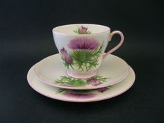 Shelley Thistle Trio Cup Saucer Plate Windsor 13820 c1950 s cup handle repair