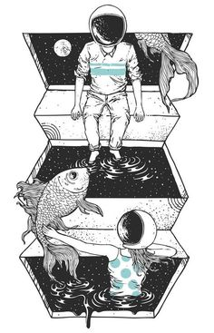 A cosmic bond of love across the universe. Space Between illustration print by Norman Duenas Art And Illustration, Illustrations, Art Paintings, Watercolor Paintings, Psy Art, Bd Comics, Land Art, Oeuvre D'art, Norman
