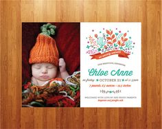 Botanical Whimsical Baby Birth Announcement  by blushprintables, $18.00