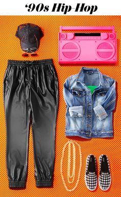Go all out with a super fly '90s Halloween costume. Bonus: the awesomely over-the-top look is made up of everyday pieces like a denim jacket and slip-on sneakers. And those faux leather sweats? You'll wear them again—trust.