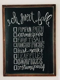 Fall Bucket List - Fall Chalk Art - Chalkboard - Life as Lindaman Blog - Fall Decor
