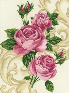 RTO Roses - Cross Stitch Kit. Cross Stitch Kit featuring flowers. This Cross Stitch Kit comes complete with 14 Count Zweigart Aida, pre-sorted DMC floss, John J