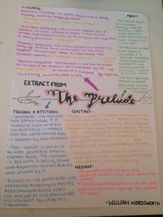 The Prelude - William Wordsworth//poem revision sheet
