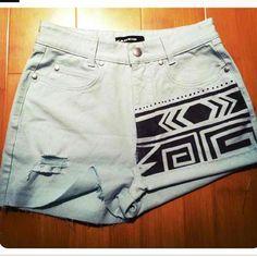 Tribal print DIY shorts