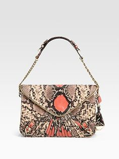 Rebecca Minkoff Collection Maria Python-Embossed Clutch  and on sale now too!!!