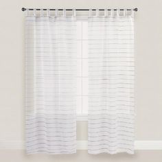 One of my favorite discoveries at WorldMarket.com: White Striped Jute Sahaj Tab Top Curtains Set of 2