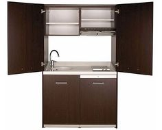 "Small Kitchen Armoire - with a sink, upper cabinets, cooktop, hood, refrigerator, plus space for either a dishwasher OR laundry appliance! All in under 49""w, 26""d, 81""h"