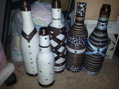 Wine bottles turned into vases