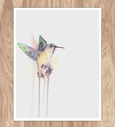 Rainbow Hummingbird Watercolor Print | A print of one of the maker's original watercolors, this hummi... | Posters