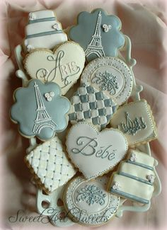 Paris Baby cookies~                     by SweetArtSweets, $51.00, blue, white, quilted, Eiffel tower, tiered cake, chandelier, heart, plaque, square