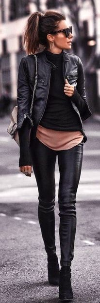 black leather zip-up jacket and black skinny jeans. Pic by @world_fashion_styles