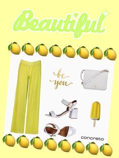 Concreto...plissè interpreta il trend del momento...pantaloni palazzo color lime...per una serata neon💫💫💫