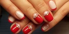French nails moon manicure with small rhinestones Elegant Nail Designs, Red Nail Designs, Elegant Nails, Moon Manicure, Pink Manicure, Manicure Ideas, Maroon Nails, Red Nails, Red French Manicure