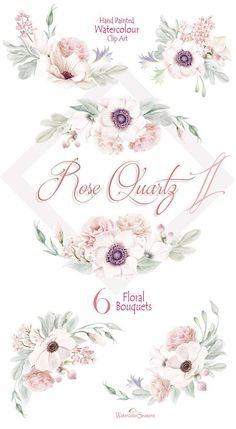 High quality Hand painted Watercolor Clipart Collection Rose Quartz II - 6 Flowers bouquets with Blush & White Flowers, Anemones, Eustoma (Lisianthus), branch of Lilac and floristic branch and leaves. Romantic floral arrangements for your creativity. Perfect graphic for wedding