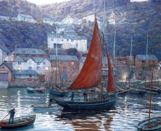 Clovelly Evening The Victory returning to port, 1885.