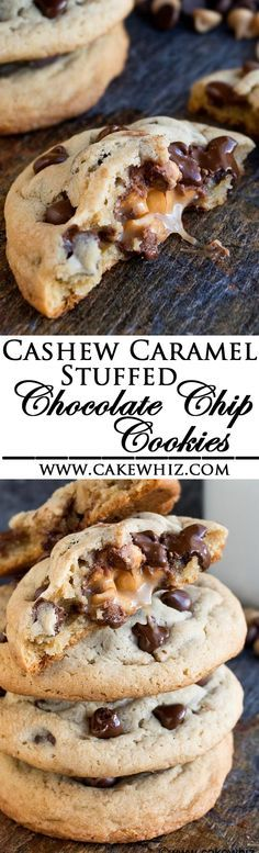 These soft and chewy CASHEW CARAMEL STUFFED CHOCOLATE CHIP COOKIES are so ooey gooey. They are huge, just like bakery style cookies and very easy to make! (Ad) From http://cakewhiz.com