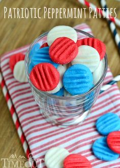 Red, White and Blue Peppermint Patties - You pick the color and flavor!  This easy candy recipe is super easy to prepare and taste delicious! Great fun for Memorial Day, 4th of July, and Labor Day! | MomOnTimeout.com | #recipe