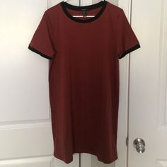 """Tshirt-dress Brand new shirt-dress. Dark orange color. 5""""8 and shorter would fit perfectly Dresses Mini"""