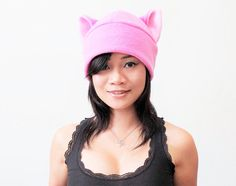 Pink Cat Hat  pussy cat hat  pussy Beanie Hat  Cat ear by QWear01