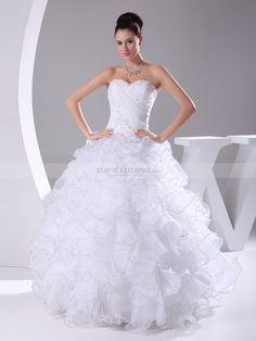 Madelena - palloncino senza spalline abito da sposa in raso con applique