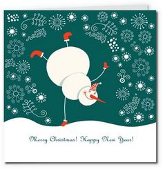 playful snowman with swirly snowflake background 27