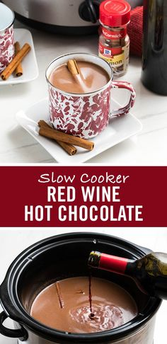 The hit of the holiday party: Chocolatey, warm cocoa mulled with red wine and McCormick Cinnamon and Nutmeg. Prepared in your slow cooker so you can spend more time with guests, this red wine hot chocolate recipe is the perfect holiday drink to toast the Holiday Drinks, Holiday Treats, Fun Drinks, Yummy Drinks, Holiday Recipes, Beverages, Christmas Recipes, Red Wine Drinks, Winter Drinks