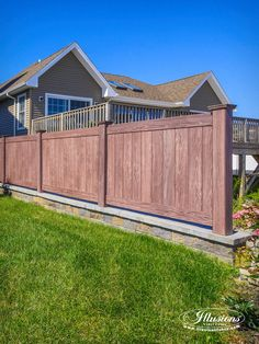 Vinyl PVC Wood Grain Privacy Fencing Panels in Walnut by Illusions Vinyl Fence are a Great Good Neighbor Fence Idea for Your Home.