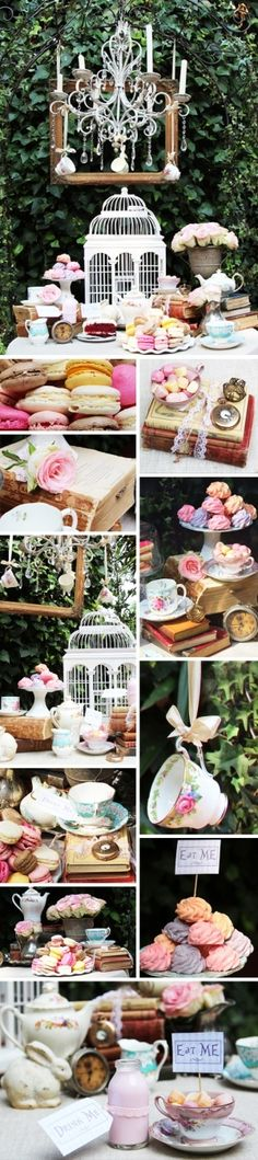 LOVE LOVE the birdcage on the table!!! Love the tea cups hanging from ribbons!!
