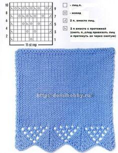 Узоры вязания спицами ажурной каймы