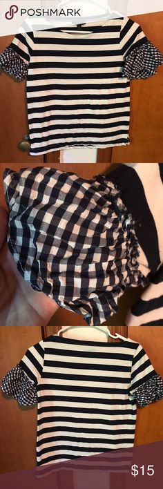 J-crew Stripes & Gingham top Size XXS but fits like XS. Worn and Laundered Once. Good condition. j crew Tops