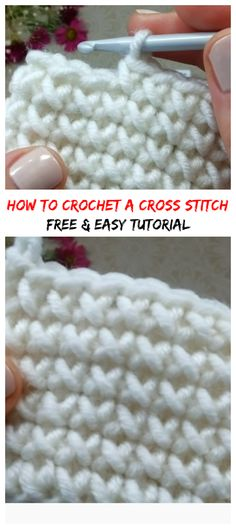 How To Crochet A Cross Stitch - Knitting for beginners,Knitting patterns,Knitting projects,Knitting cowl,Knitting blanket Crochet Gratis, Crochet Yarn, Free Crochet, Crotchet, Crochet Stitches Patterns, Knitting Patterns, Knitting Ideas, Diy Knitting For Beginners, Crochet Instructions