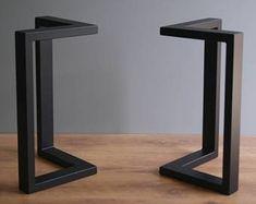 L shape steel bench legs, coffee table legs, bench base, coffee table base (SET OF Slab Table, Dining Table Legs, Wood Table, Modern Table Legs, Furniture Legs, Metal Furniture, Mesa Metal, Bench Legs, Desk Legs