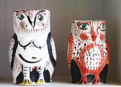 Whimsical owl sculptures by Japanese-born, Seattle-based ceramic sculptor Akio Takamori (b.1950). via pink pagoda studio